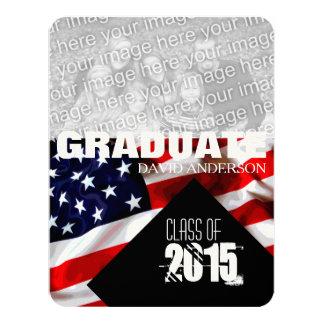 Classe da graduação da bandeira americana do convite 10.79 x 13.97cm