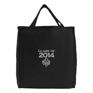 Classe de 2014 & seu saco bordado iniciais bolsas de lona