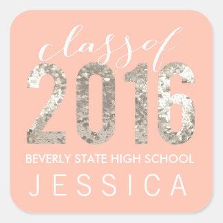 Classe de etiquetas personalizadas graduação 2016 adesivo quadrado