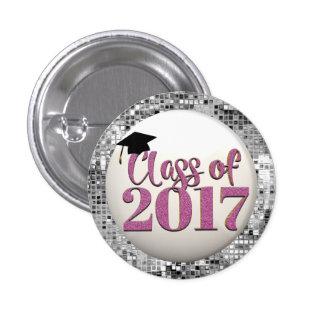 Classe de prata e cor-de-rosa do botão 2017 da bóton redondo 2.54cm
