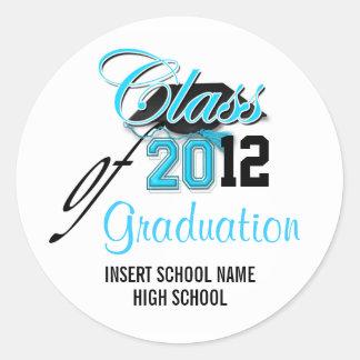 """""""Classe"""" de preto do aqua do anúncio da graduação Adesivos Redondos"""