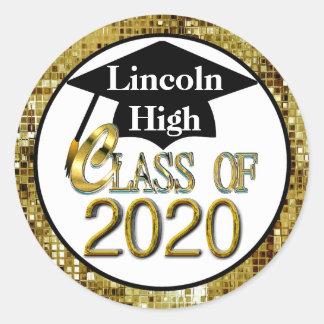 Classe dos selos 2020 da graduação do ouro adesivo