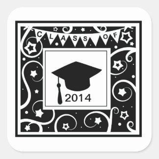 Classe preto e branco de graduação feita sob adesivo quadrado