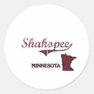 Clássico da cidade de Shakopee Minnesota Adesivos Redondos