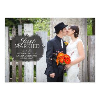 Clássico simples do preto do anúncio do casamento convite 12.7 x 17.78cm