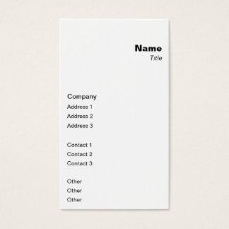 Clássico vertical cartão de visitas