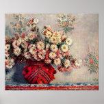 Claude Monet - ainda vida com crisântemos Posters