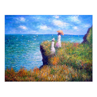 Claude Monet: Caminhada do penhasco em Pourville Cartão Postal