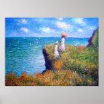Claude Monet: Caminhada do penhasco em Pourville Posteres