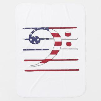 """Clef baixo """"bandeira americana """" cobertorzinho para bebe"""