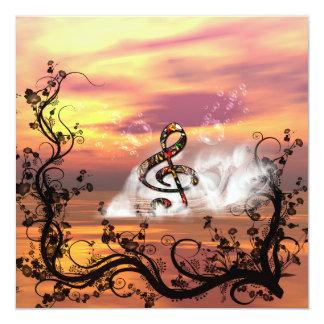 Clef colorido no por do sol convite quadrado 13.35 x 13.35cm