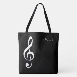 clef de triplo da música moderna no preto bolsa tote
