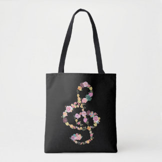 clef de triplo floral romântico da música no preto bolsa tote