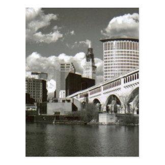 Cleveland Ohio preto e branco Cartão Postal