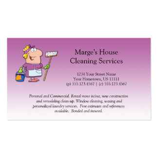 Cliente cor-de-rosa da limpeza da casa da cartão de visita