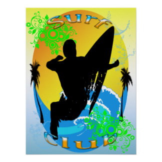 """Clube do surf - surfista 18"""""""" poster x24 pôster"""