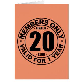 Clube finalmente 20 cartão comemorativo