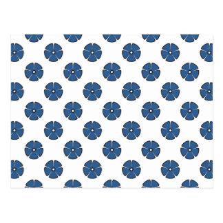 Cobalto brilhante do teste padrão de flor 2 cartão postal