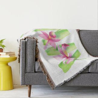 Cobertor Aquarela Orquídea Flor Colorida Decorativa Bonita