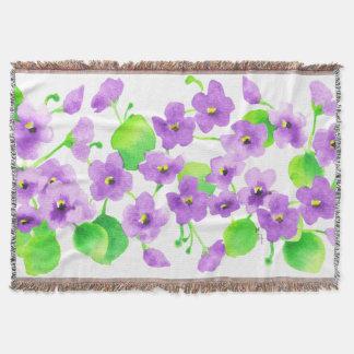 Cobertor Aquarela Violeta Flor Decorativa Bonita Clássica