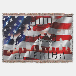 Cobertor Bandeira e soldados patrióticos de América dos