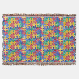 Cobertor Cobertura do quebra-cabeça da aguarela do autismo