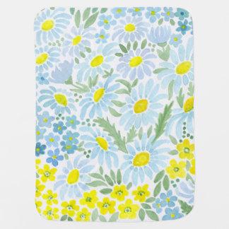 Cobertor De Bebe Aguarela. As flores do campo. Camomila