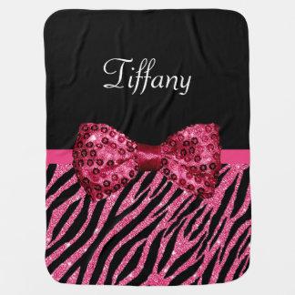 Cobertor De Bebe Arco cor-de-rosa na moda do Glitz do FALSO do