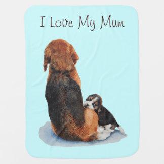 Cobertor De Bebe Arte de afago do realista do cão da mãe do