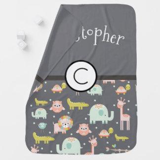 Cobertor De Bebe Arte do berçário do teste padrão dos animais do