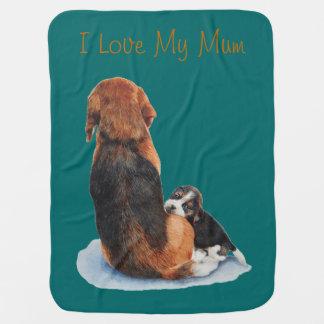 Cobertor De Bebe Cão de afago da arte do realista da mãe do