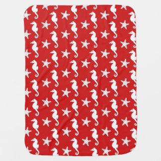 Cobertor De Bebe Cavalo marinho & estrela do mar - vermelho coral e