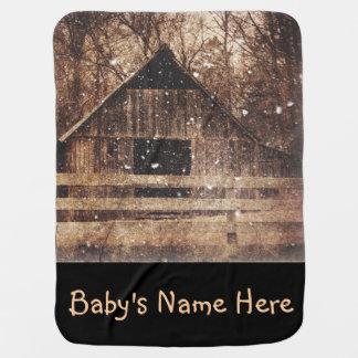 Cobertor De Bebe Celeiro velho rural do país primitivo da neve do