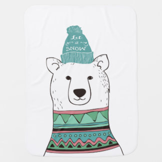 Cobertor De Bebe Cobertura do bebê do urso polar