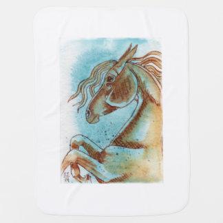 Cobertor De Bebe Cobertura eqüino do bebê da arte da aguarela