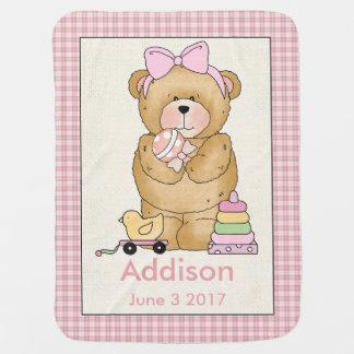 Cobertor De Bebe Cobertura personalizada do urso do bebê de Addison