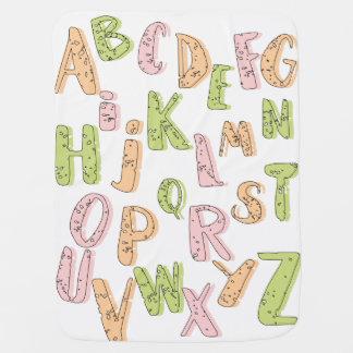 Cobertor De Bebe Cobertura verde do alfabeto e alaranjada