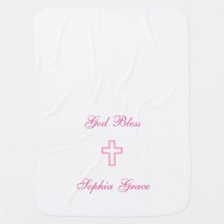 Cobertor De Bebe Cruz cor-de-rosa cobertura personalizada do bebê