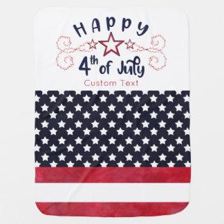 Cobertor De Bebe Feliz 4o julho com texto feito sob encomenda