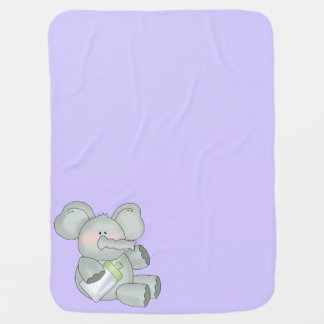 Cobertor De Bebe Lavanda do elefante do bebê unisex