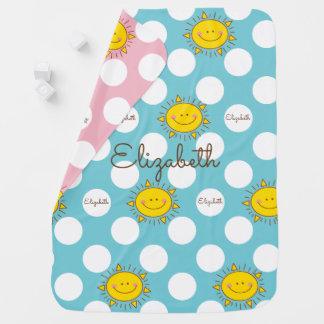Cobertor De Bebe Luz do sol feliz bonito do smiley e teste padrão