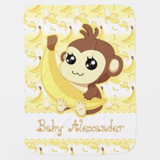 Cobertor De Bebe Macaco bonito de Kawaii que guardara a banana