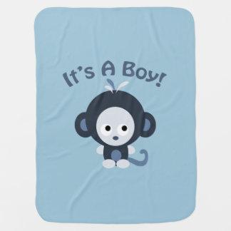 Cobertor De Bebe Macaco bonito - é um menino!