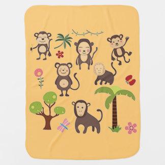 Cobertor De Bebe Macacos felizes