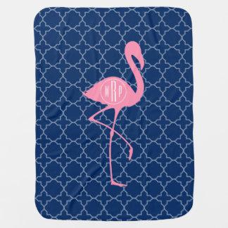 Cobertor De Bebe Marinho cor-de-rosa Quatrefoil do flamingo do
