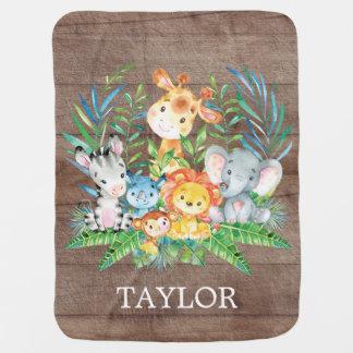 Cobertor De Bebe Menina personalizada do menino   do safari que