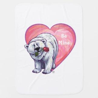 Cobertor De Bebe O coração bonito do rosa do urso polar seja