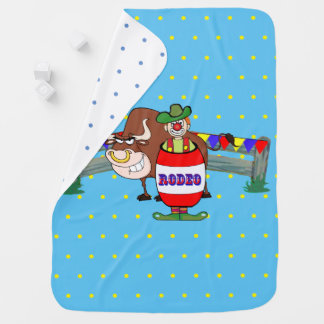 Cobertor De Bebe Palhaço do rodeio com luz de Bull - azul