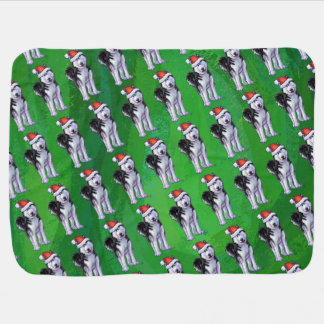 Cobertor De Bebe Rouco festivo no chapéu do papai noel no verde