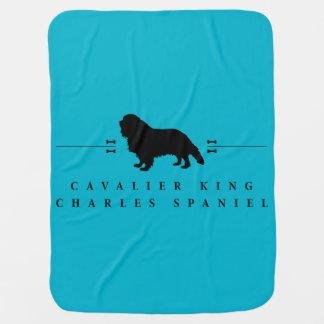 Cobertor De Bebe Silhueta descuidado -1- do Spaniel de rei Charles